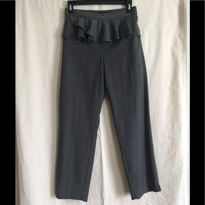 J Crew wool ankle length slacks with ruffled front